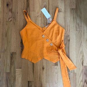 NWT LUSH linen button + wrap top